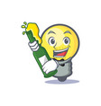 light bulb character cartoon with beer vector image
