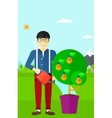 Man watering tree with light bulbs vector image vector image