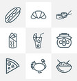 meal icons line style set with turkey pepperoni vector image