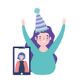 online party birthday or meeting friends happy vector image vector image