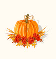 orange big pumpkin with autumn leaves vector image