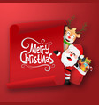 origami paper art santa claus and reindeer vector image vector image