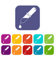 pipette icons set flat vector image vector image