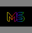 rainbow color colored colorful alphabet letter ms vector image vector image