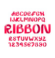 red ribbon script font vector image vector image