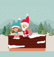 santa claus and girl helper in chimney vector image