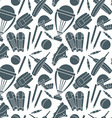 Seamless pattern with h cricket game elements vector image