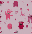 seamless pattern with spooky pink monsters vector image
