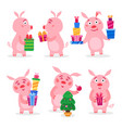 set christmas pigs with christmas gifts vector image vector image