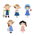 set of farmer girls set of farmer girls vector image