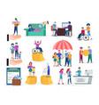 set of on social insurance vector image
