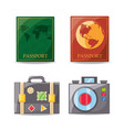 set passport and travel tools vector image