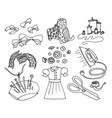 simple set of sewing related line icons vector image vector image