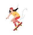 teen girl riding skateboard stylish teenager vector image vector image