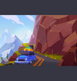 traveling on car cartoon background vector image vector image