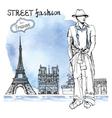 trendy dude on watercolor backgrounds street vector image