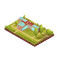 university building isometric layout vector image vector image