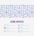 using devices concept with thin line icons vector image vector image
