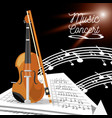 violin instrument with music sheets vector image vector image