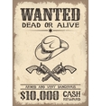 vitage wild west wanted poster vector image