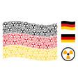 waving german flag mosaic of radioactive items vector image