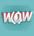 wow comic book pop art background vector image vector image