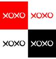 xoxo phrase sketch saying set hugs and kisses vector image vector image