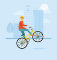 young guy rides a bike and performs complex stunts vector image