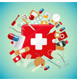 medical equipment and drugs medicine banner with vector image