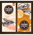 Hand Drawn Meat Food Vertical Banners vector image