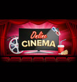 online cinema banner with computer monitor vector image