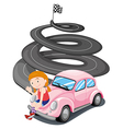 A girl and her pink racing car vector image vector image