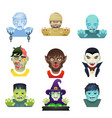 avatar halloween party role characters bust icons vector image vector image
