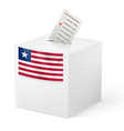 Ballot box with voting paper Liberia vector image vector image