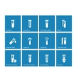 Biochemistry test tube icons on blue background vector image vector image