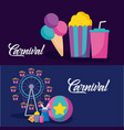 carnival celebration infographic icons vector image