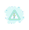 cartoon high voltage danger icon in comic style vector image vector image
