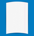 checkered notebook paper on blue background vector image vector image