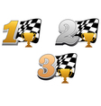 Checkered racing flag with trophy vector image vector image