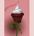 cupcake as rose vector image