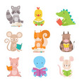 cute animals characters reading books set vector image vector image