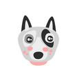 cute bull terrier dog face funny cartoon animal vector image vector image