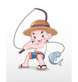 cute style japanese boy fishing vector image vector image