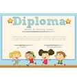 Diploma template with children in background vector image vector image