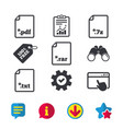 Document signs file extensions symbols