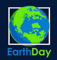 earth day text and world flat graphic vector image vector image