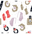 fashion accessories flatlay seamless pattern vector image