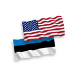 flags estonia and america on a white background vector image vector image