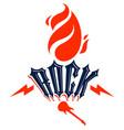 flames lightning bolt and typing rock emblem or vector image vector image