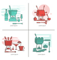 Fondue linear icons vector image vector image
